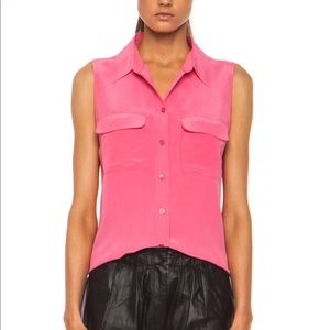 Equipment Hot Pink Sleeveless Silk Blouse